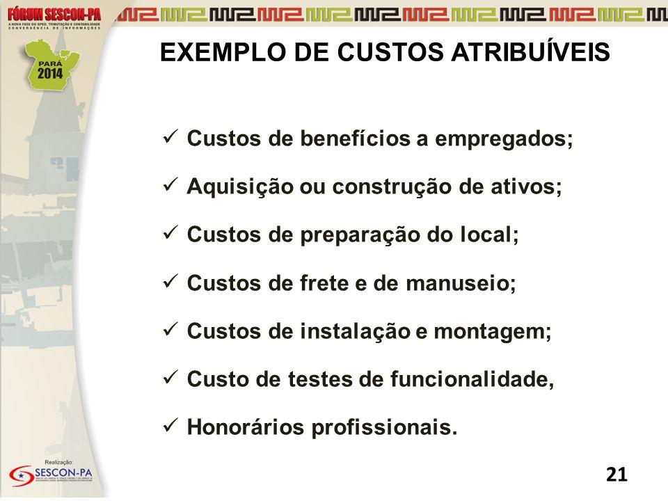 EXEMPLO DE CUSTOS ATRIBUÍVEIS