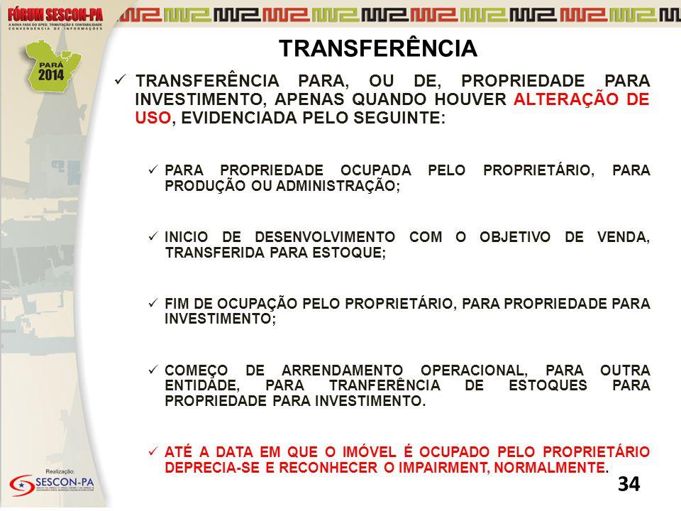 TRANSFERÊNCIA TRANSFERÊNCIA PARA, OU DE, PROPRIEDADE PARA INVESTIMENTO, APENAS QUANDO HOUVER ALTERAÇÃO DE USO, EVIDENCIADA PELO SEGUINTE: