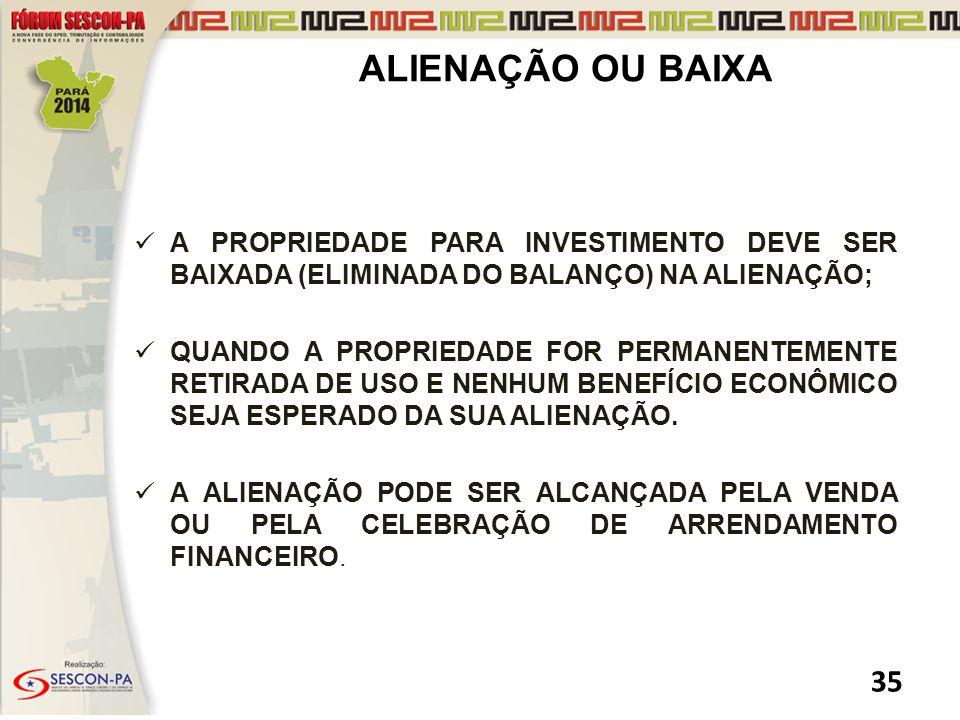 ALIENAÇÃO OU BAIXA A PROPRIEDADE PARA INVESTIMENTO DEVE SER BAIXADA (ELIMINADA DO BALANÇO) NA ALIENAÇÃO;