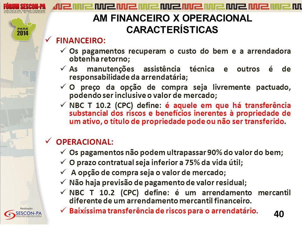 AM FINANCEIRO X OPERACIONAL CARACTERÍSTICAS