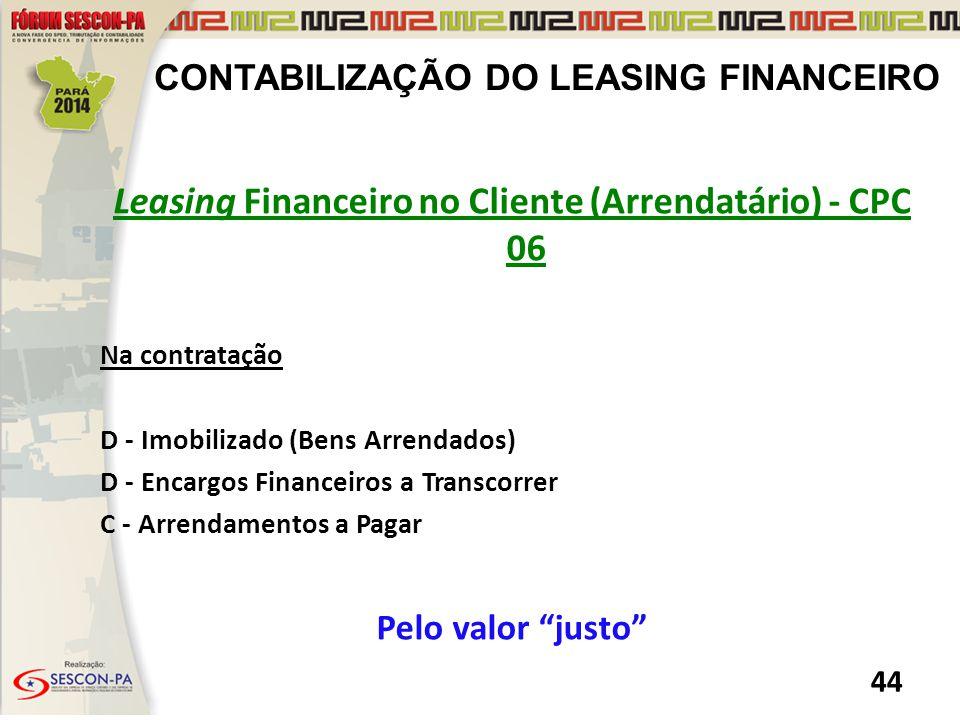 Leasing Financeiro no Cliente (Arrendatário) - CPC 06