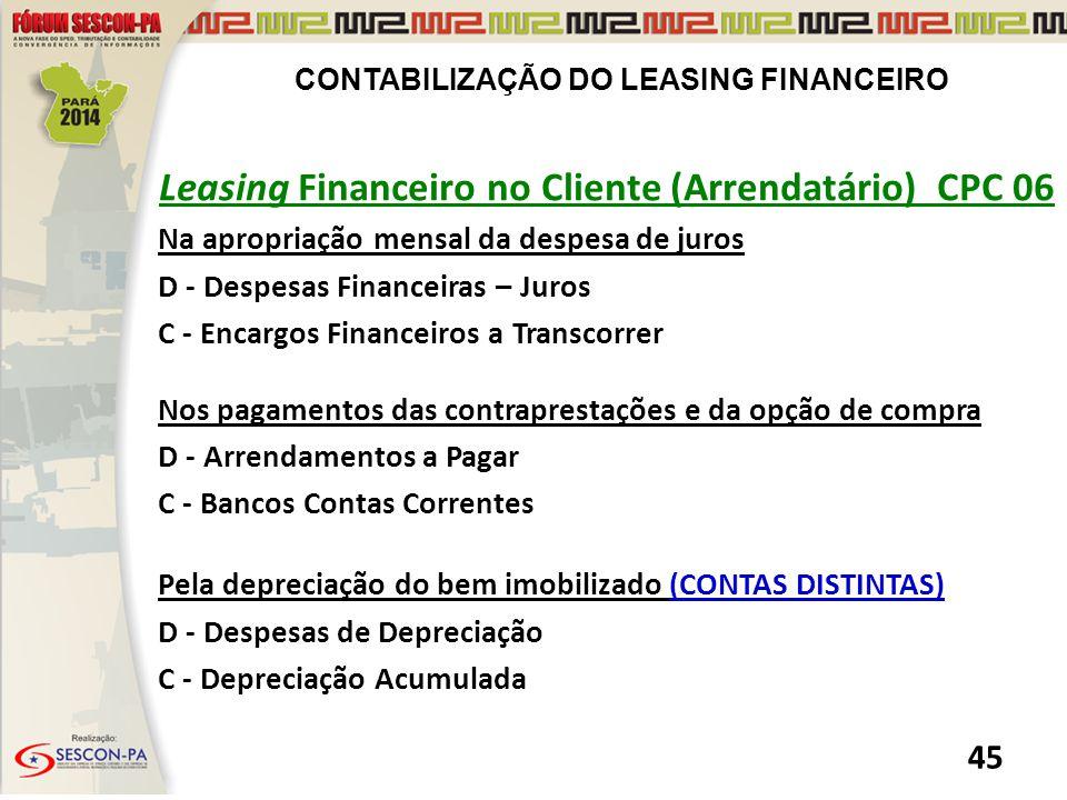 Leasing Financeiro no Cliente (Arrendatário) CPC 06