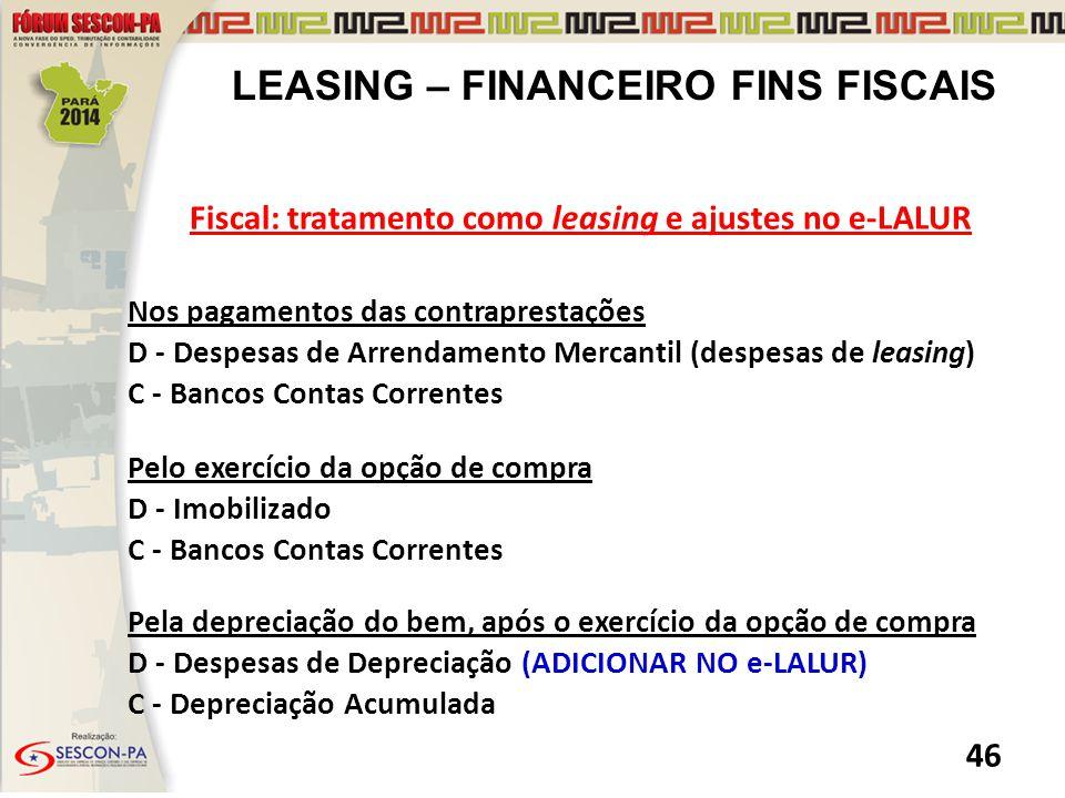 LEASING – FINANCEIRO FINS FISCAIS