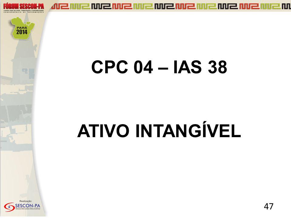 CPC 04 – IAS 38 ATIVO INTANGÍVEL