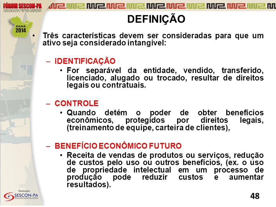 DEFINIÇÃO Três características devem ser consideradas para que um ativo seja considerado intangível: