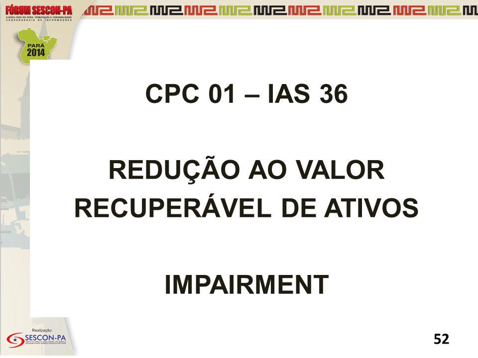 CPC 01 – IAS 36 REDUÇÃO AO VALOR RECUPERÁVEL DE ATIVOS IMPAIRMENT