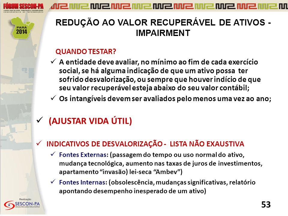 REDUÇÃO AO VALOR RECUPERÁVEL DE ATIVOS - IMPAIRMENT