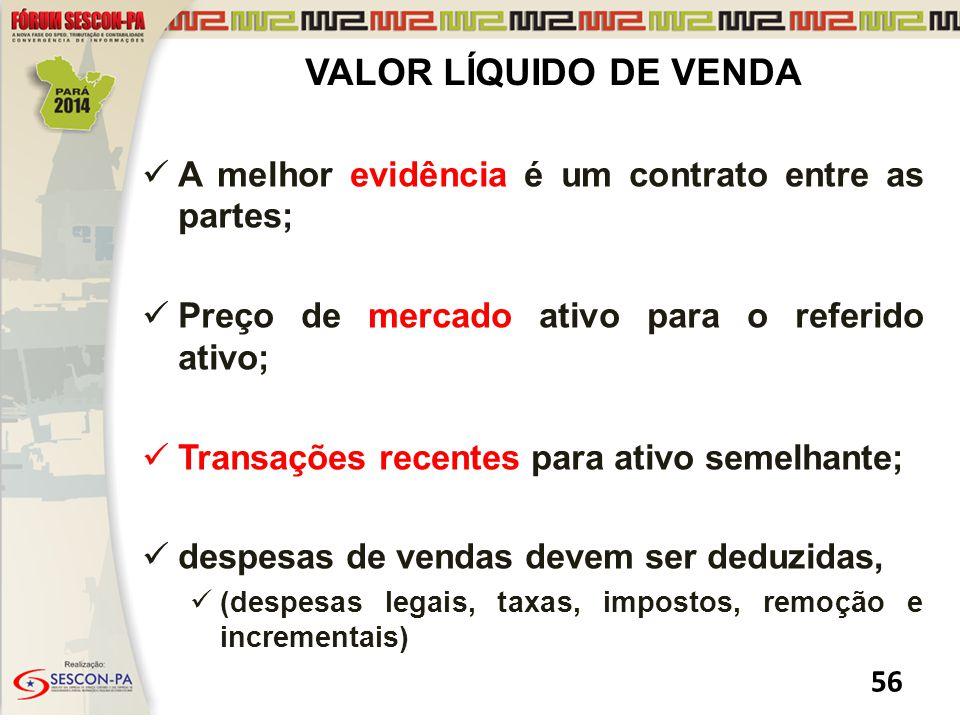 VALOR LÍQUIDO DE VENDA A melhor evidência é um contrato entre as partes; Preço de mercado ativo para o referido ativo;