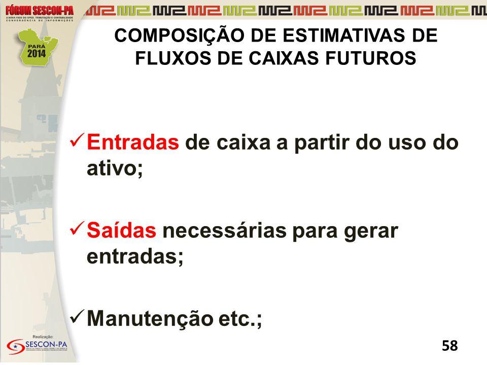 COMPOSIÇÃO DE ESTIMATIVAS DE FLUXOS DE CAIXAS FUTUROS