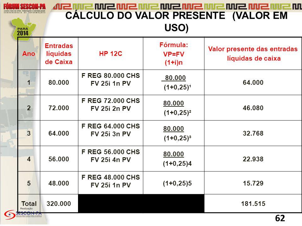 CÁLCULO DO VALOR PRESENTE (VALOR EM USO)
