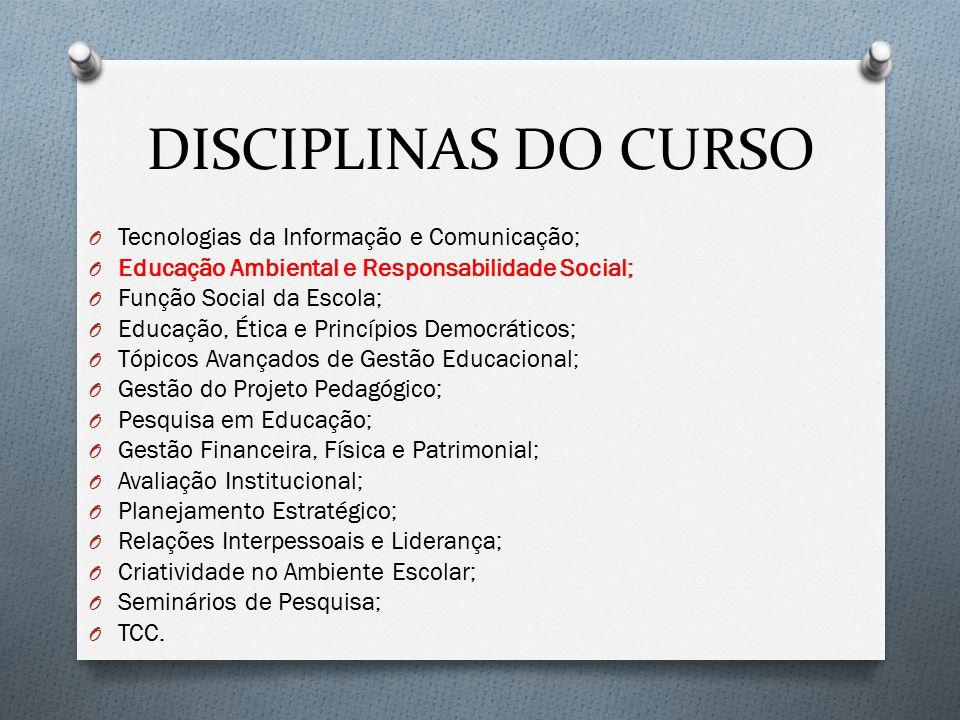 DISCIPLINAS DO CURSO Tecnologias da Informação e Comunicação;