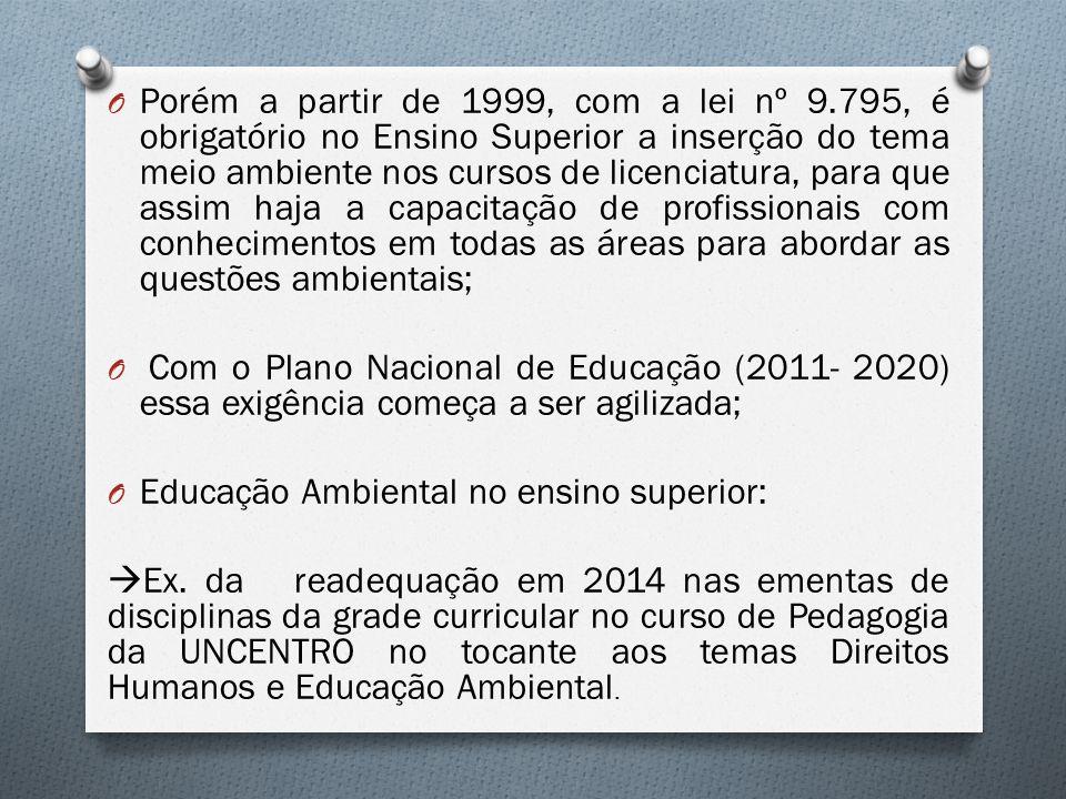 Porém a partir de 1999, com a lei nº 9