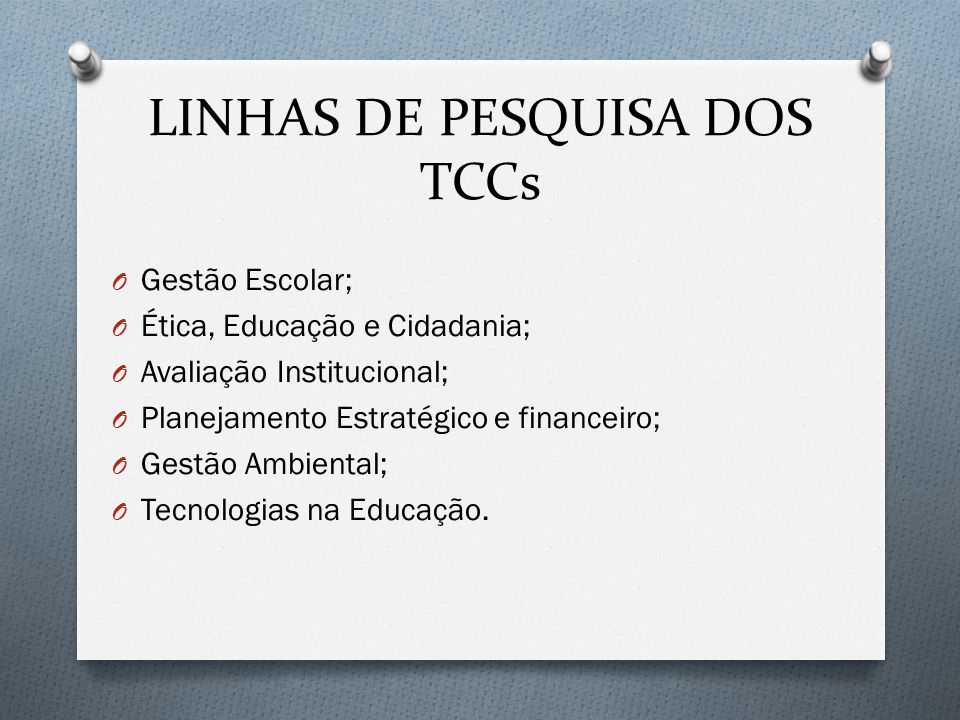 LINHAS DE PESQUISA DOS TCCs