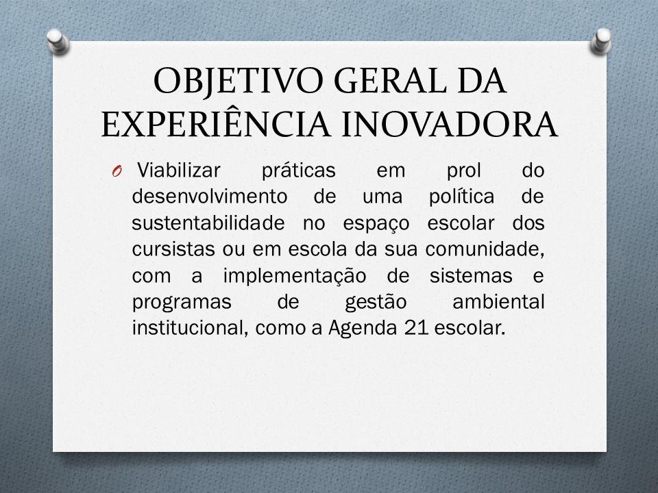 OBJETIVO GERAL DA EXPERIÊNCIA INOVADORA