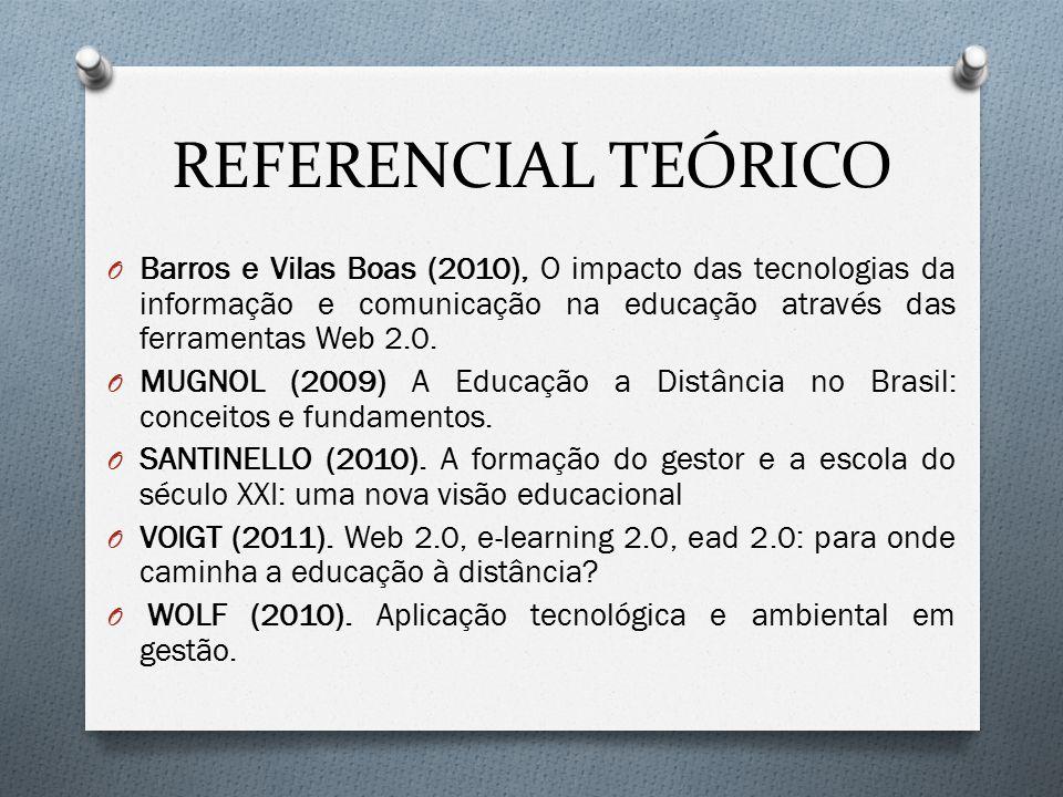 REFERENCIAL TEÓRICO Barros e Vilas Boas (2010), O impacto das tecnologias da informação e comunicação na educação através das ferramentas Web 2.0.