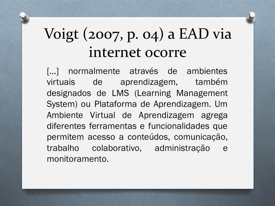 Voigt (2007, p. 04) a EAD via internet ocorre