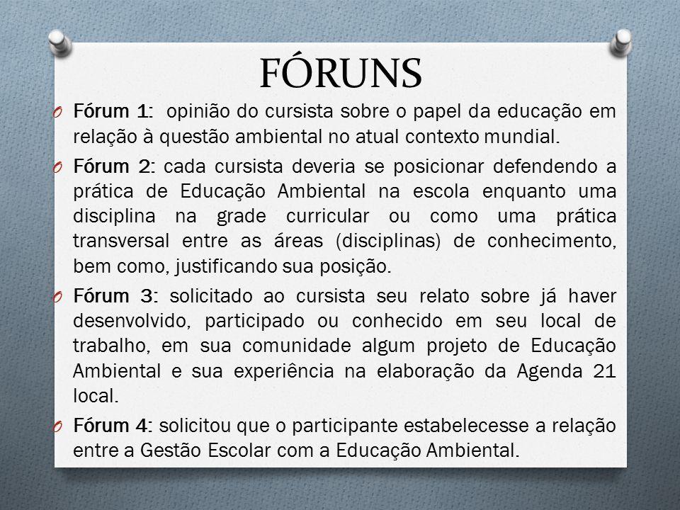 FÓRUNS Fórum 1: opinião do cursista sobre o papel da educação em relação à questão ambiental no atual contexto mundial.