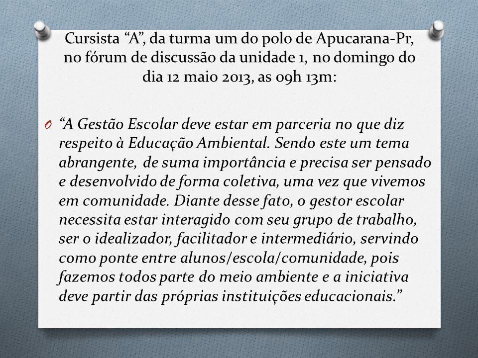 Cursista A , da turma um do polo de Apucarana-Pr, no fórum de discussão da unidade 1, no domingo do dia 12 maio 2013, as 09h 13m: