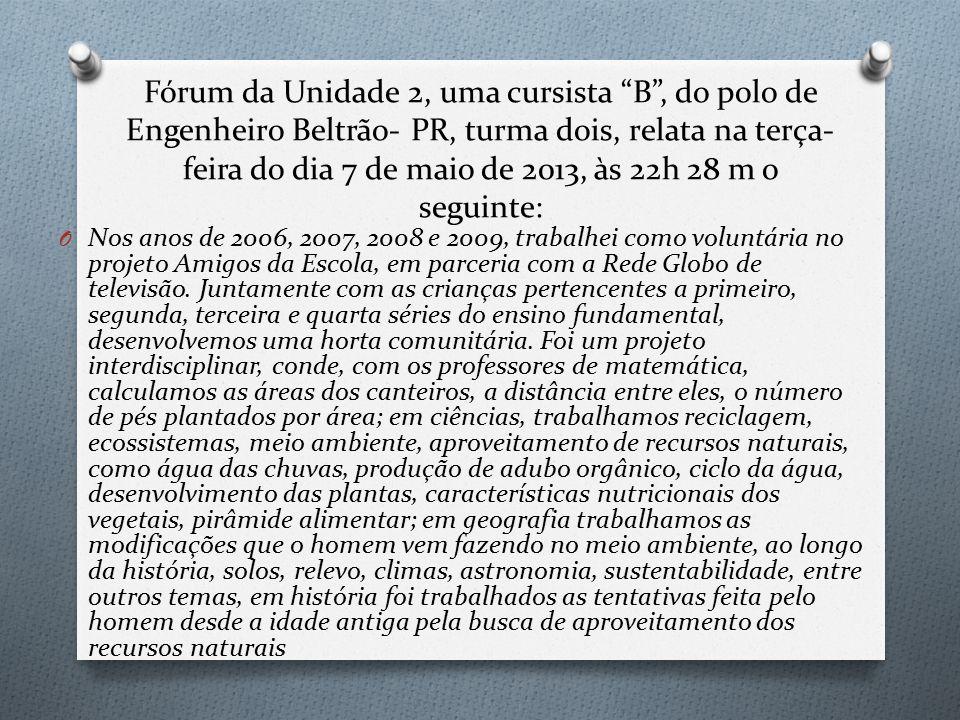 Fórum da Unidade 2, uma cursista B , do polo de Engenheiro Beltrão- PR, turma dois, relata na terça-feira do dia 7 de maio de 2013, às 22h 28 m o seguinte: