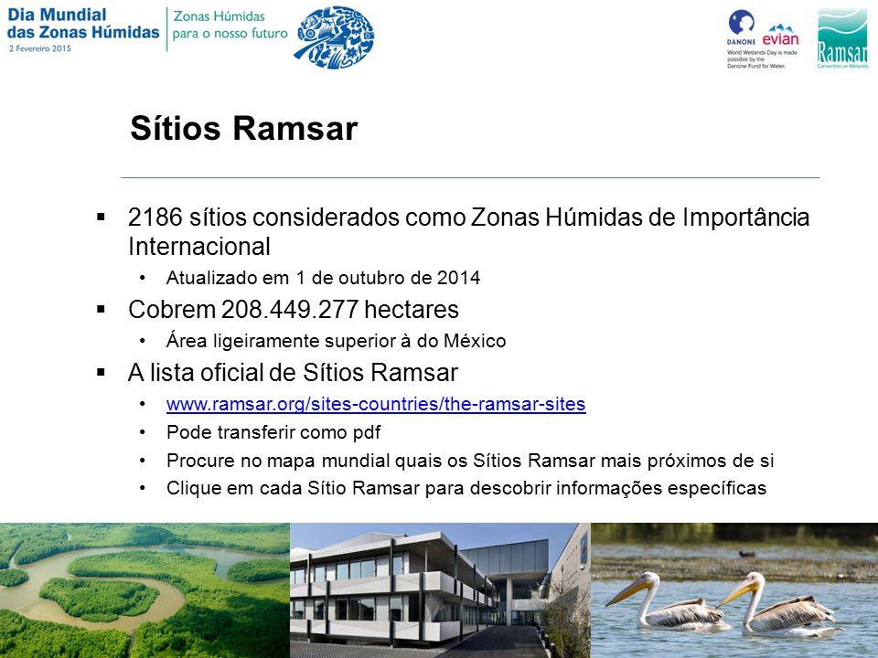 Sítios Ramsar 2186 sítios considerados como Zonas Húmidas de Importância Internacional. Atualizado em 1 de outubro de 2014.