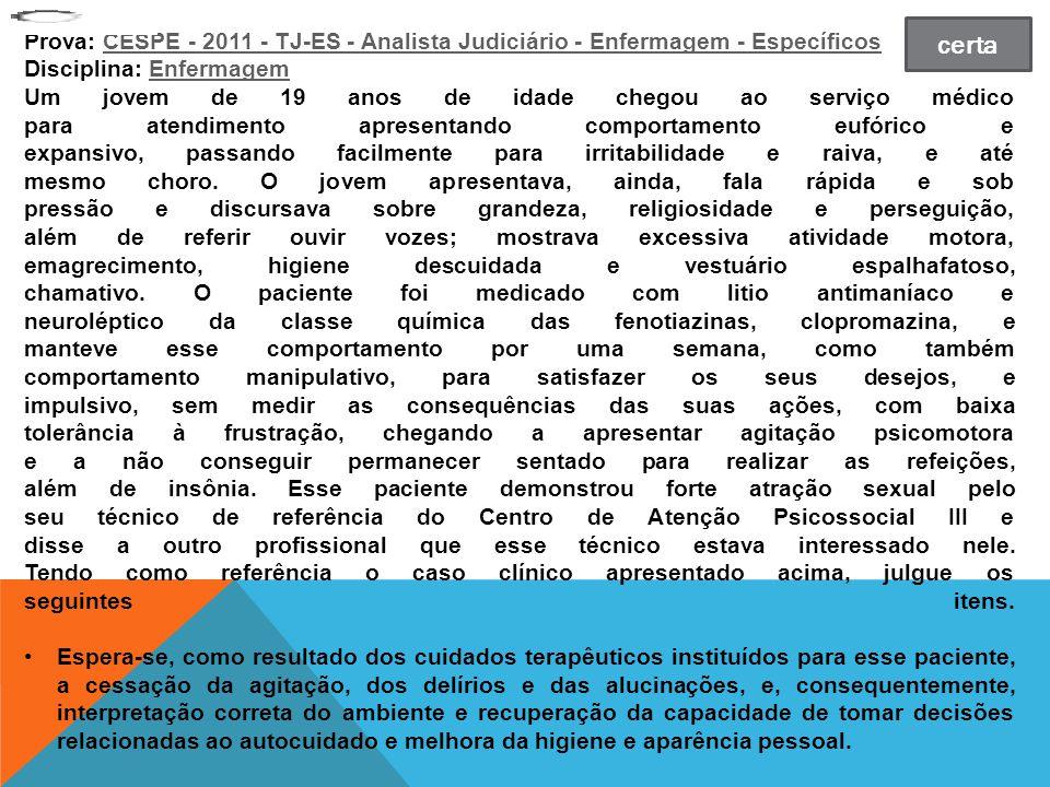 Prova: CESPE - 2011 - TJ-ES - Analista Judiciário - Enfermagem - Específicos