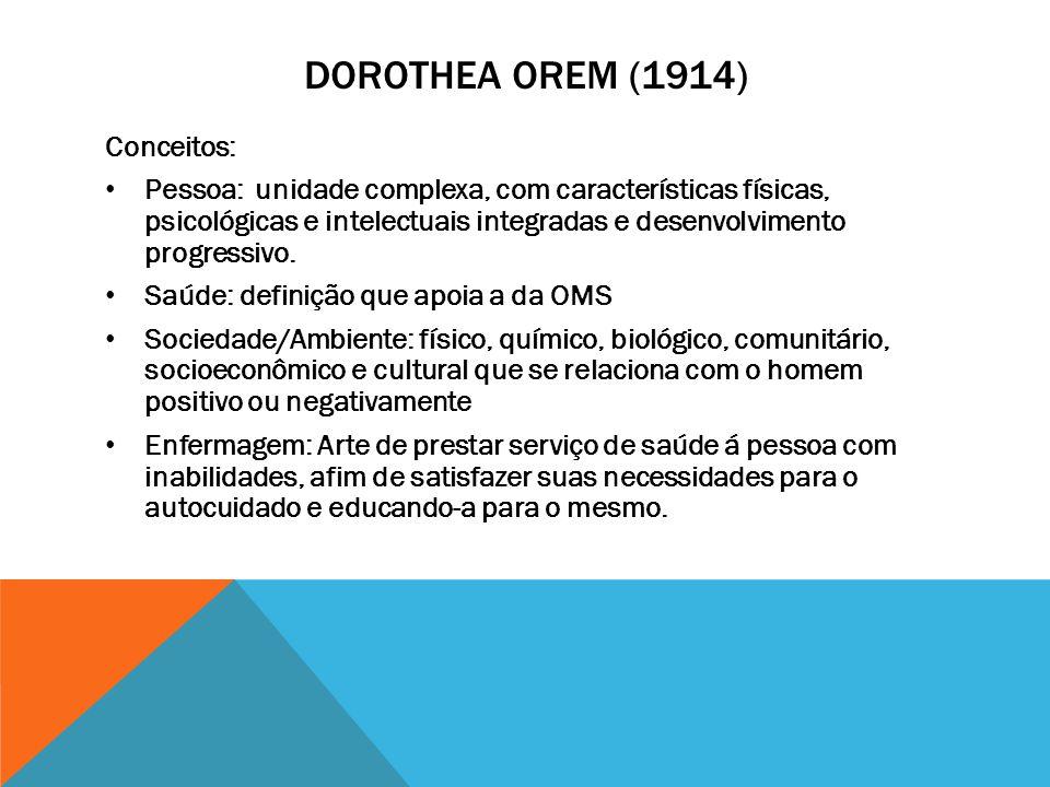 Dorothea orem (1914) Conceitos: