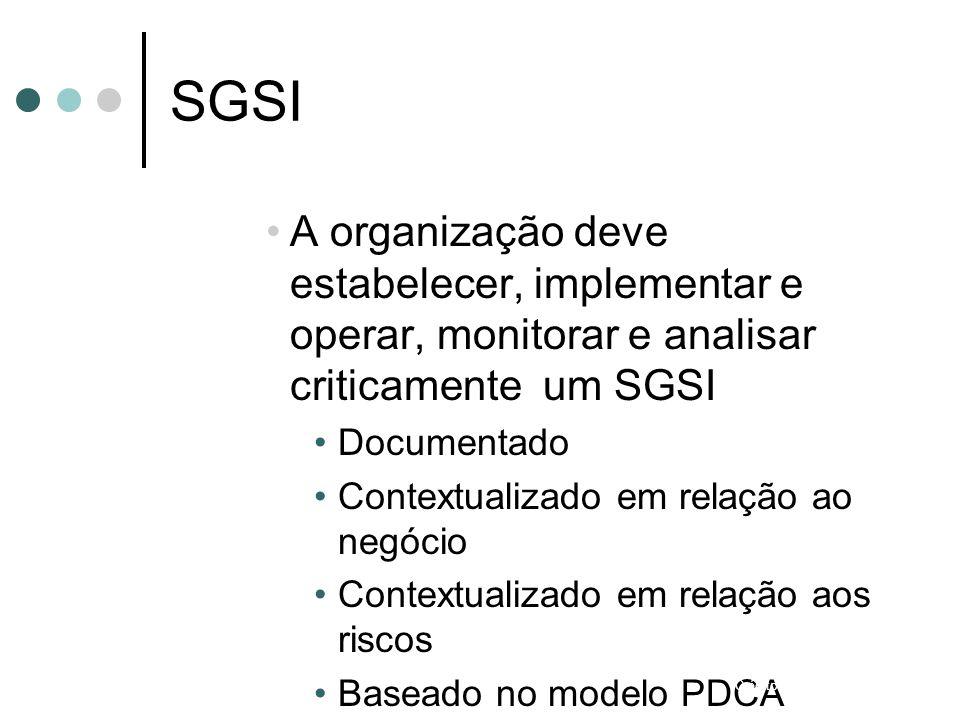 SGSI A organização deve estabelecer, implementar e operar, monitorar e analisar criticamente um SGSI.