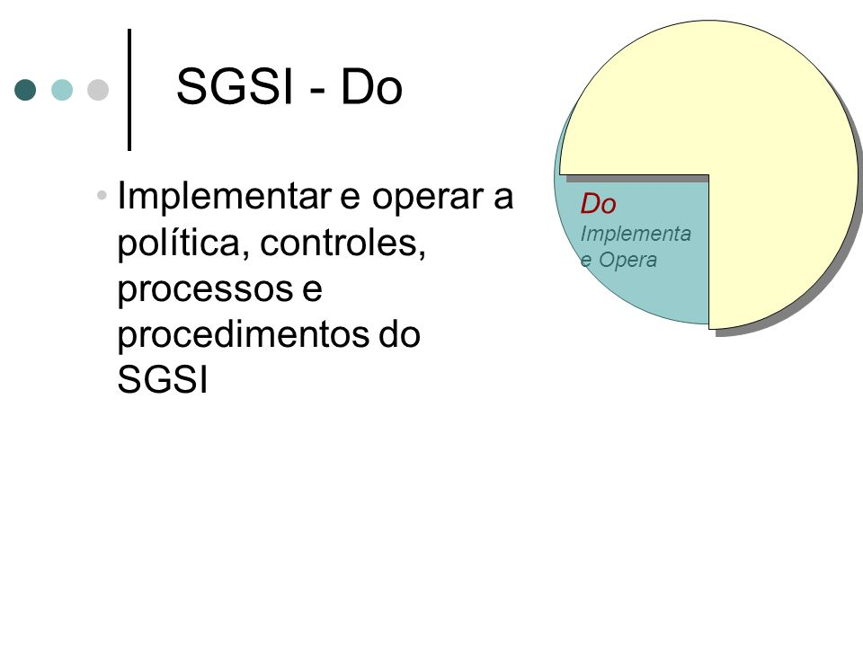 Do Implementa. e Opera. SGSI - Do. Implementar e operar a política, controles, processos e procedimentos do SGSI.