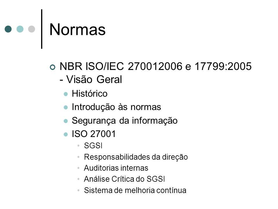 Normas NBR ISO/IEC 270012006 e 17799:2005 - Visão Geral Histórico