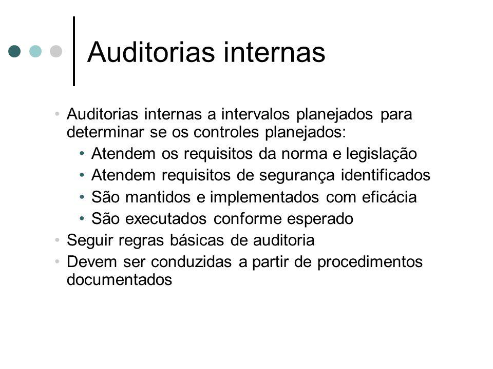 Auditorias internas Auditorias internas a intervalos planejados para determinar se os controles planejados: