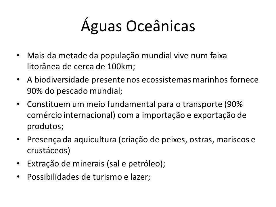 Águas Oceânicas Mais da metade da população mundial vive num faixa litorânea de cerca de 100km;