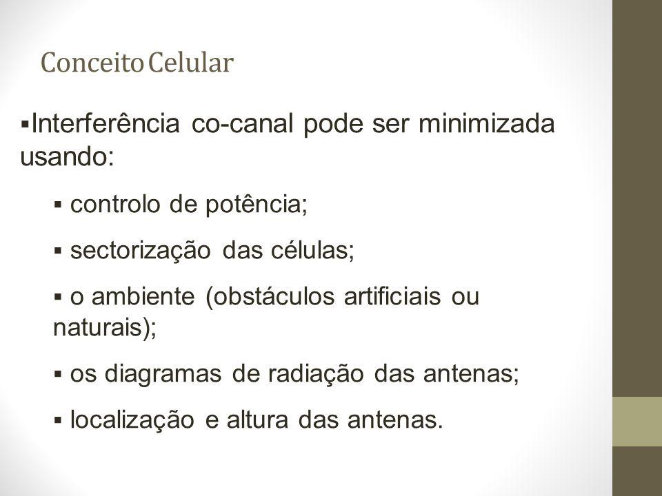 Conceito Celular Interferência co-canal pode ser minimizada usando: