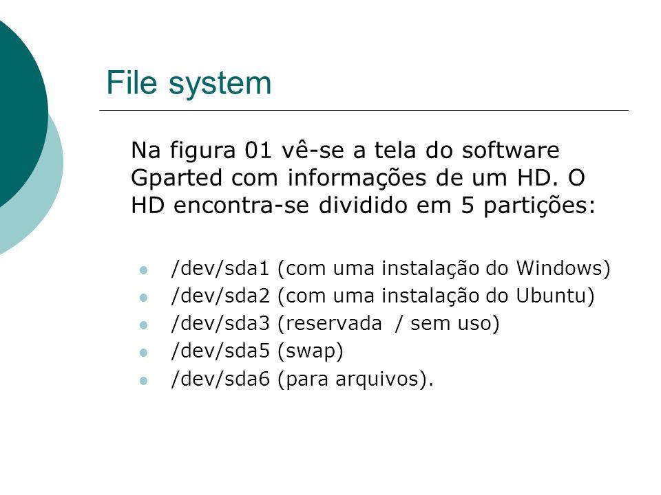 File system Na figura 01 vê-se a tela do software Gparted com informações de um HD. O HD encontra-se dividido em 5 partições: