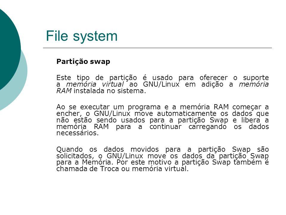 File system Partição swap