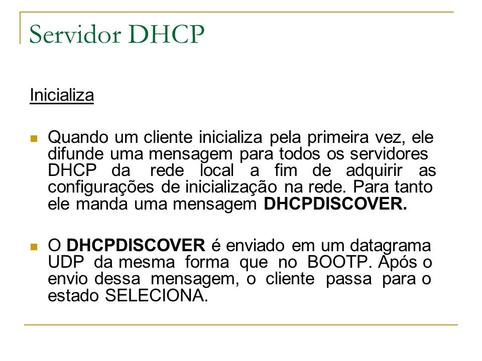Servidor DHCP Inicializa