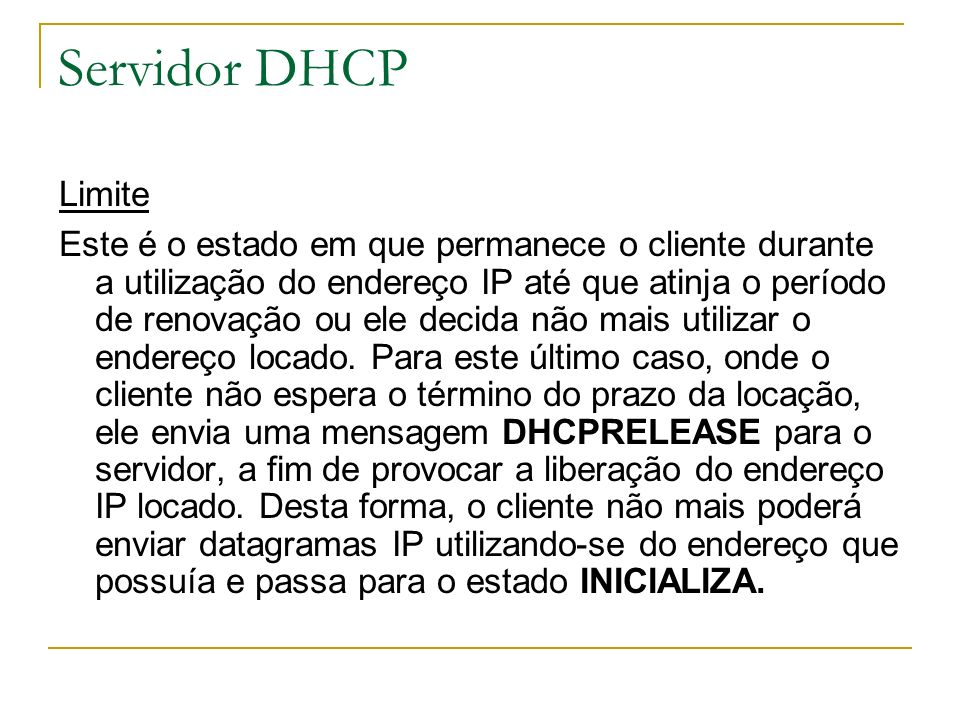 Servidor DHCP Limite.