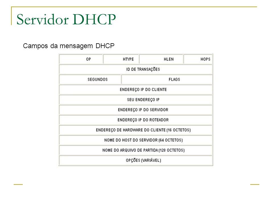 Servidor DHCP Campos da mensagem DHCP