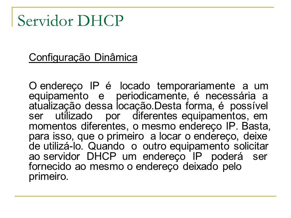 Servidor DHCP Configuração Dinâmica