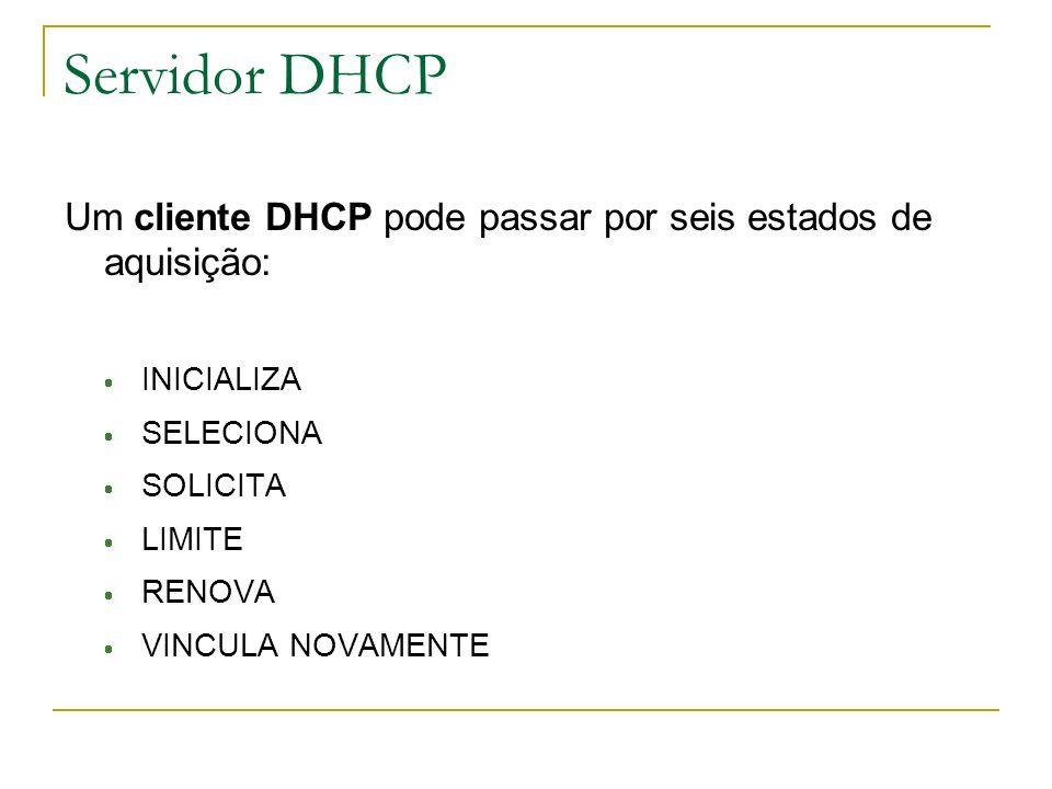 Servidor DHCP Um cliente DHCP pode passar por seis estados de aquisição: INICIALIZA. SELECIONA.