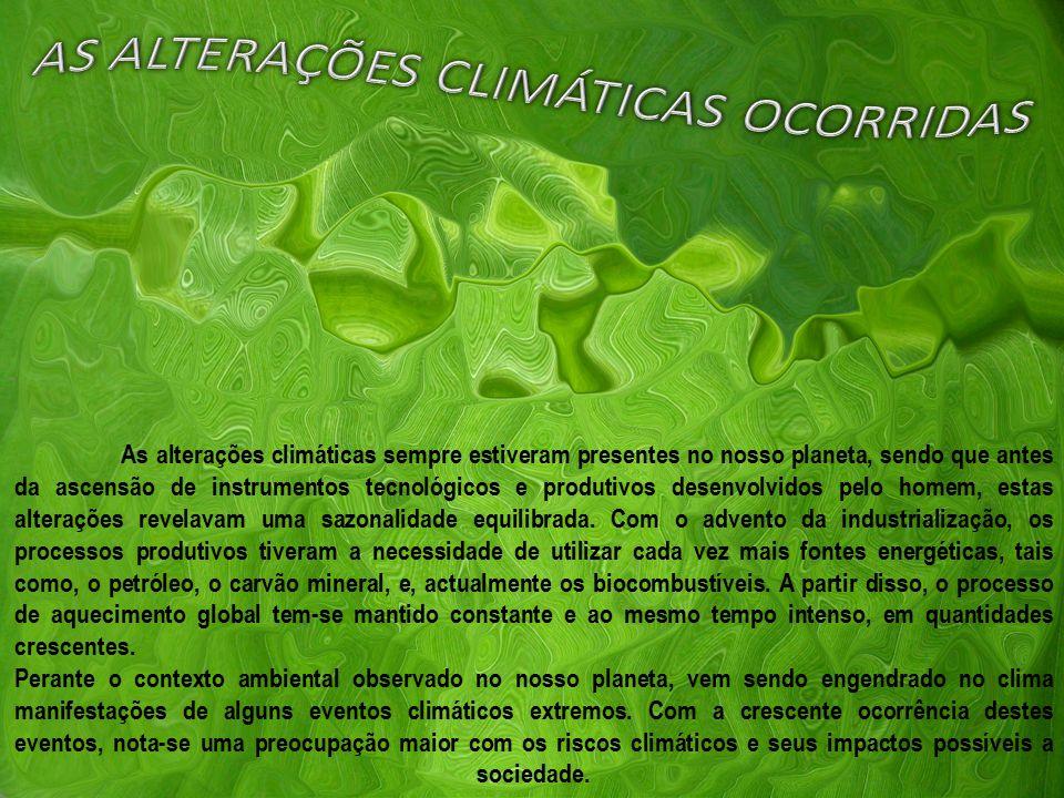 AS ALTERAÇÕES CLIMÁTICAS OCORRIDAS