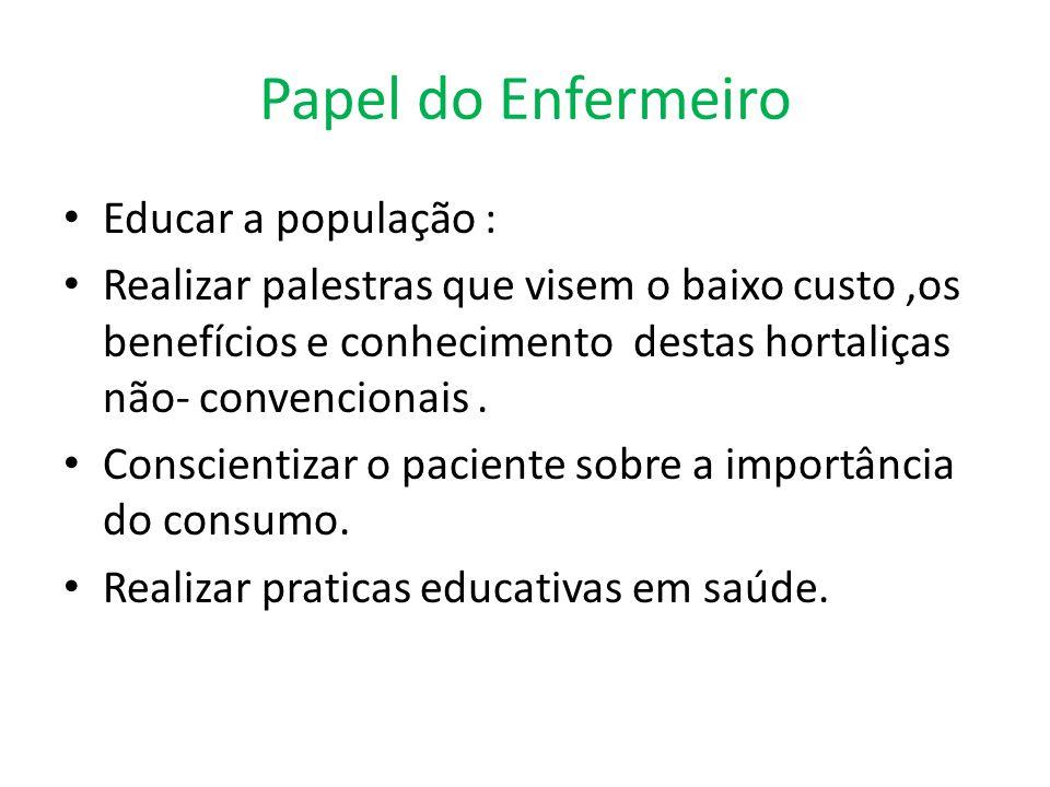Papel do Enfermeiro Educar a população :