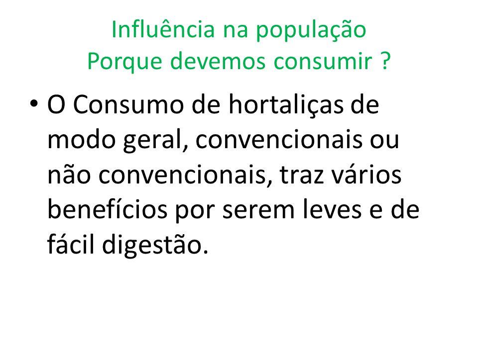Influência na população Porque devemos consumir