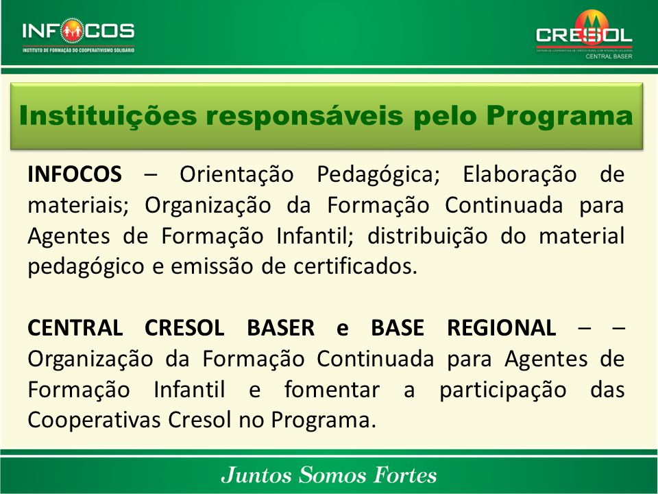 Instituições responsáveis pelo Programa