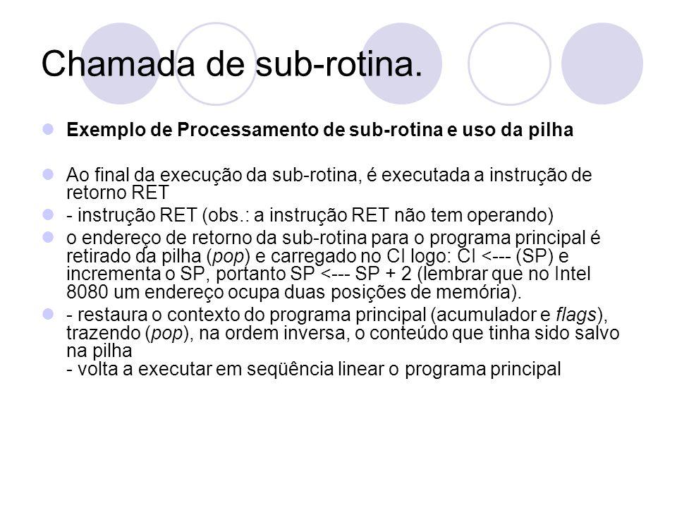 Chamada de sub-rotina.Exemplo de Processamento de sub-rotina e uso da pilha.