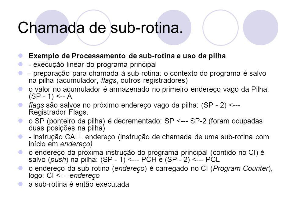 Chamada de sub-rotina.Exemplo de Processamento de sub-rotina e uso da pilha. - execução linear do programa principal.