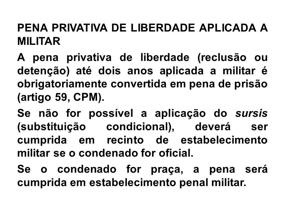 PENA PRIVATIVA DE LIBERDADE APLICADA A MILITAR A pena privativa de liberdade (reclusão ou detenção) até dois anos aplicada a militar é obrigatoriamente convertida em pena de prisão (artigo 59, CPM).