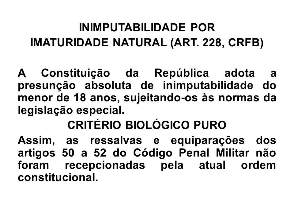 INIMPUTABILIDADE POR IMATURIDADE NATURAL (ART