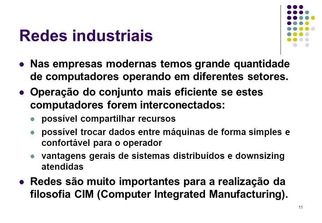 Redes industriais Nas empresas modernas temos grande quantidade de computadores operando em diferentes setores.
