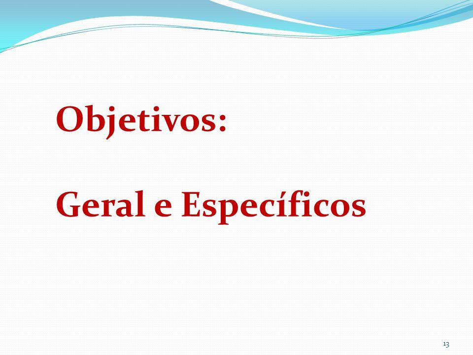 Objetivos: Geral e Específicos
