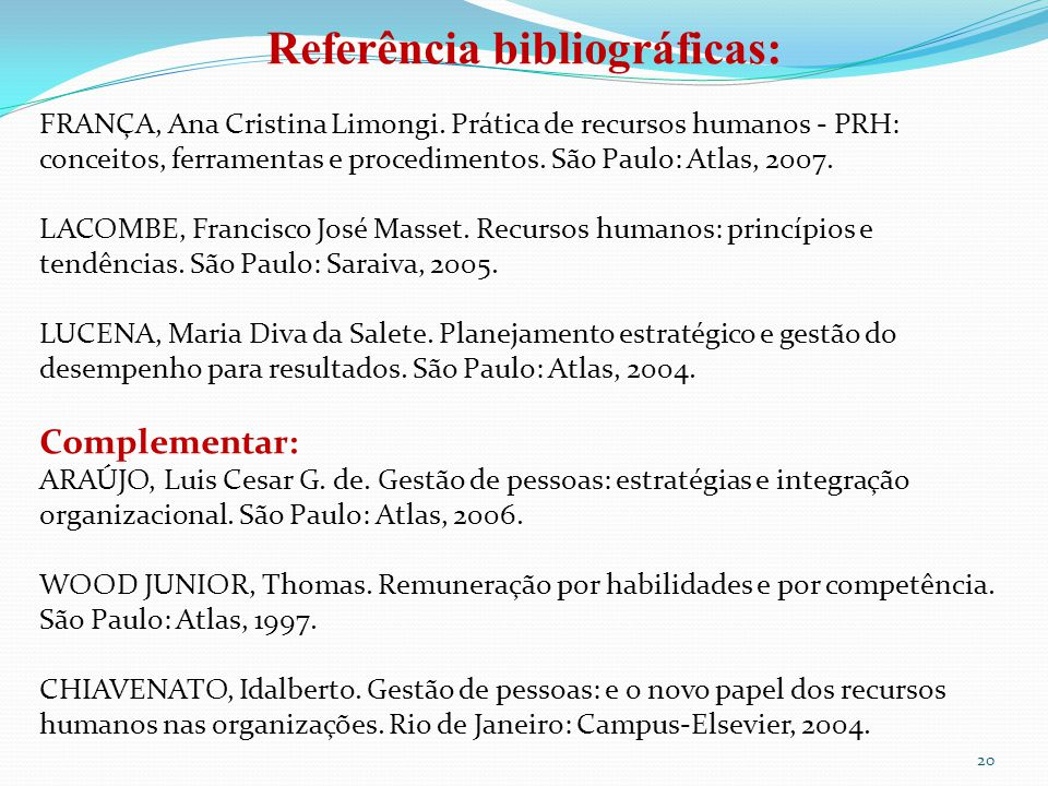 Referência bibliográficas: